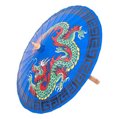 Hand-Painted Dragon-Motif Cotton Parasol