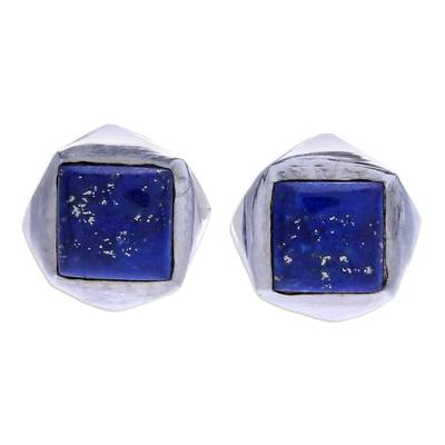 Handcrafted Lapis Lazuli and Sterling Silver Stud Earrings