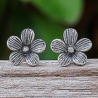 Silver button earrings, 'Striped Garden' - Karen Silver Floral-Motif Button Earrings