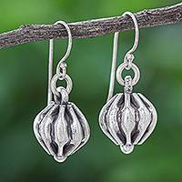 Silver dangle earrings, 'Royal Ball' - Hand Crafted Karen Silver Dangle Earrings