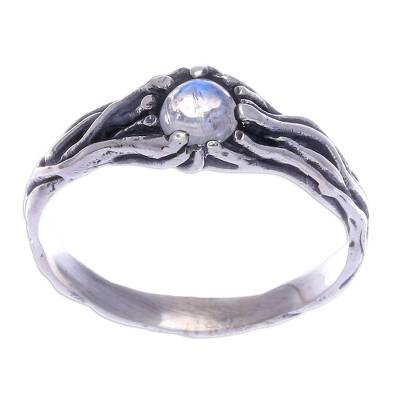 Sterling Silver and Rainbow Moonstone Single Stone Ring