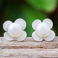 Cultured pearl button earrings, 'Pearl Oasis' - Cultured Pearl and Sterling Silver Floral-Motif Earrings