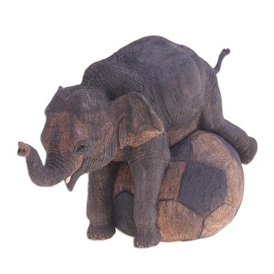 Artisan Crafted Teak Wood Elephant Sculpture