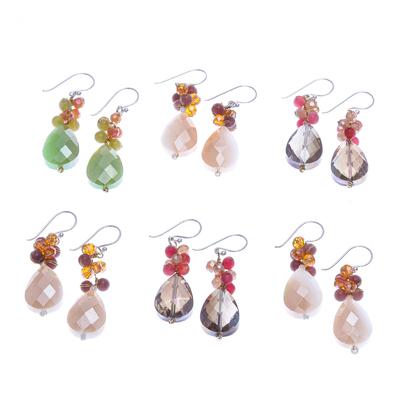 Quartz and Glass Bead Dangle Earrings (Set of 6)