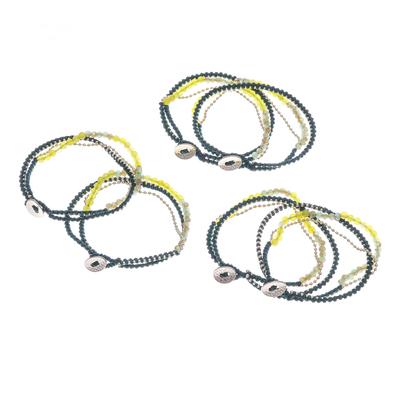 Gold-Plated Brass and Quartz Beaded Bracelets (Set of 6)