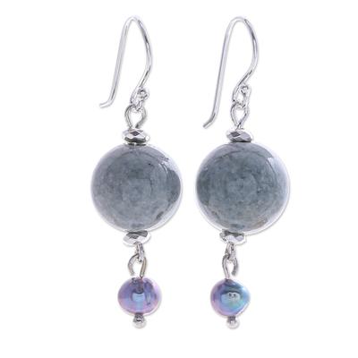 Thai Jade and Cultured Pearl Dangle Earrings