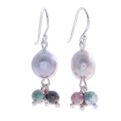 Thai Tourmaline and Cultured Pearl Dangle Earrings