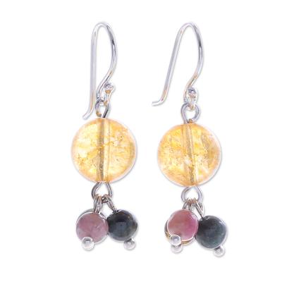 Thai Quartz and Tourmaline Dangle Earrings