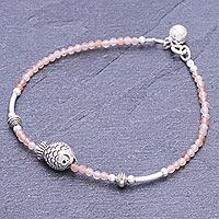 Sunstone pendant bracelet, 'Singing Waters in Pink' - Sunstone and Karen Silver Pendant Bracelet