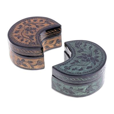 Green and Yellow Decorative Lacquerware Wood Boxes (Pair)