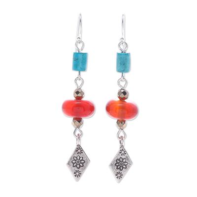 Thai Carnelian and Hematite Dangle Earrings