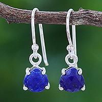 Lapis lazuli dangle earrings, 'Dewy Blue' - Lapis Lazuli and Sterling Silver Dangle Earrings