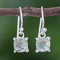Prehnite dangle earrings, 'Pale Sea' - Prehnite and Sterling Silver Dangle Earrings