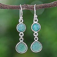 Sillimanite dangle earrings, 'Forest Dweller' - Green Sillimanite and Sterling Silver Dangle Earrings