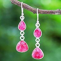 Sillimanite dangle earrings, 'Bubblegum Charm' - Handmade Sillimanite and Sterling Silver Dangle Earrings