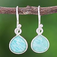 Amazonite dangle earrings, 'Clear View' - Amazonite and Sterling Silver Dangle Earrings