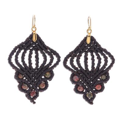 Gold-accented unakite macrame dangle earrings, 'Hidden Dreams' - Gold-Accented Unakite Macrame Dangle Earrings