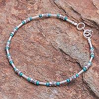 Sterling silver beaded bracelet, 'Petite Jewel in Blue-Green' - Sterling Silver and Karen Silver Beaded Bracelet