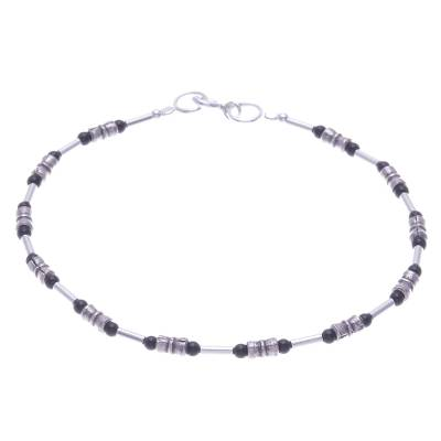 Thai Sterling Silver and Onyx Beaded Bracelet