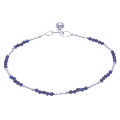 Sterling Silver and Lapis Lazuli Beaded Bracelet