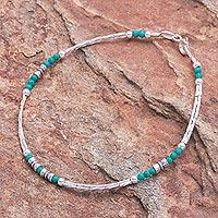 Sterling silver beaded bracelet, 'Spiral Jetty in Blue-Green' - Hand Crafted Sterling Silver Beaded Bracelet
