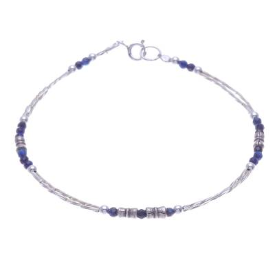 Thai Sterling Silver and Lapis Lazuli Beaded Bracelet