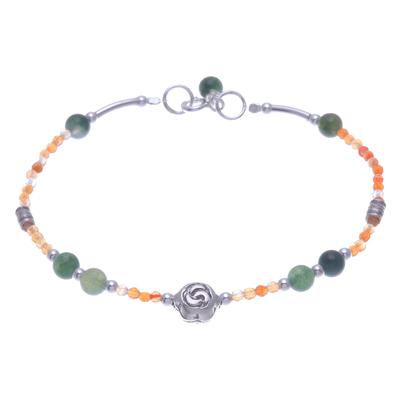 Agate and Carnelian Beaded Pendant Bracelet