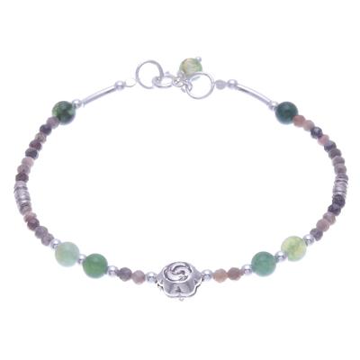 Agate and Rhodochrosite Beaded Pendant Bracelet