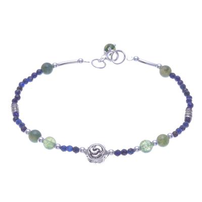 Agate and Lapis Lazuli Rose Pendant Bracelet