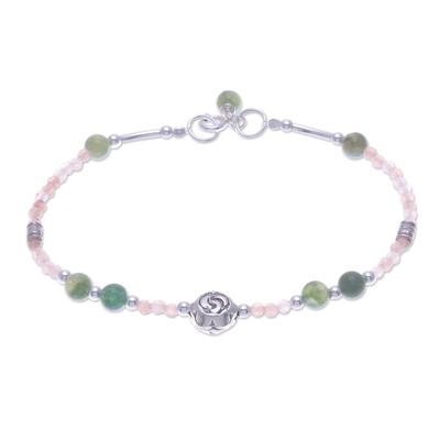 Green Agate and Sunstone Pendant Bracelet