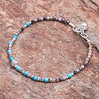 Rhodochrosite pendant bracelet, 'Silver Storm in Brown' - Rhodochrosite and Sterling Silver Pendant Bracelet