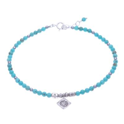 Hill Tribe Karen Silver and Hematite Charm Anklet