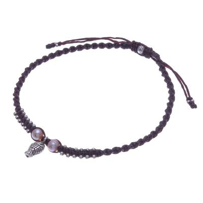 Cultured Pearl and Karen Silver Fish Anklet