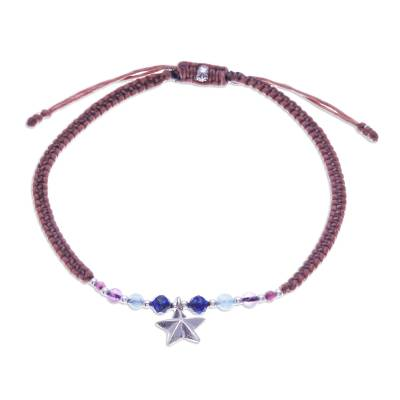 Amethyst and Tourmaline Macrame Charm Anklet