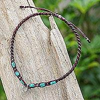 Silver charm anklet, 'Barefoot Walk' - Karen Silver Macrame Anklet with Butterfly Charm