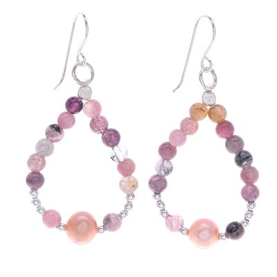 Cultured Pearl and Tourmaline Dangle Earrings