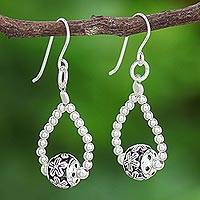 Sterling silver dangle earrings, 'Floral Myth' - Thai Sterling Silver Floral-Motif Dangle Earrings