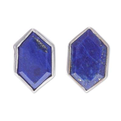 Geometric Lapis Lazuli Button Earrings