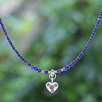 Lapis lazuli pendant necklace, 'Lonely Hearts' - Lapis Lazuli Heart-Motif Pendant Necklace