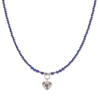 Lapis Lazuli Heart-Motif Pendant Necklace
