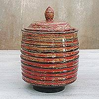Lacquered wood jar, 'Ascension' - Lacquered wood jar