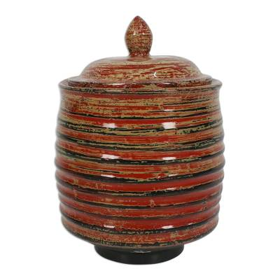 Lacquered wood jar