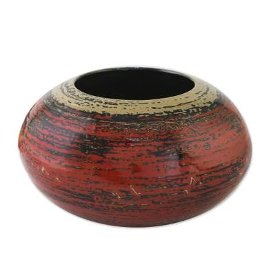 Lacquered bamboo jar