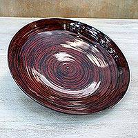Lacquered bamboo plate, 'Hypnotic Vision' - Lacquered bamboo plate