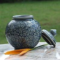 Celadon ceramic jar, 'Celestial Garden' - Fair Trade Celadon Ceramic Jar