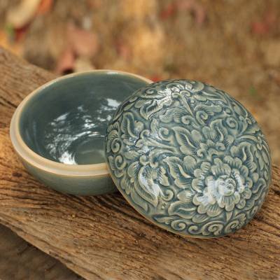 Celadon ceramic box, 'Divine Cloud' - Celadon Ceramic Decorative Box