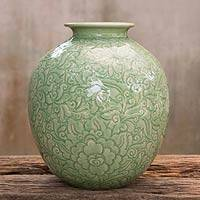 Celadon ceramic vase, 'Natural Illusion'