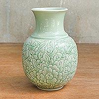 Celadon ceramic vase, 'Jade Landscape' - Celadon Ceramic Vase