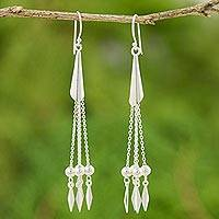 Sterling silver dangle earrings, 'Silver Cascade' - Sterling Silver Dangle Earrings