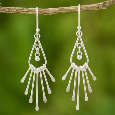 Sterling silver waterfall earrings, 'Silver Rain' - Handcrafted Sterling Silver Chandelier Earrings